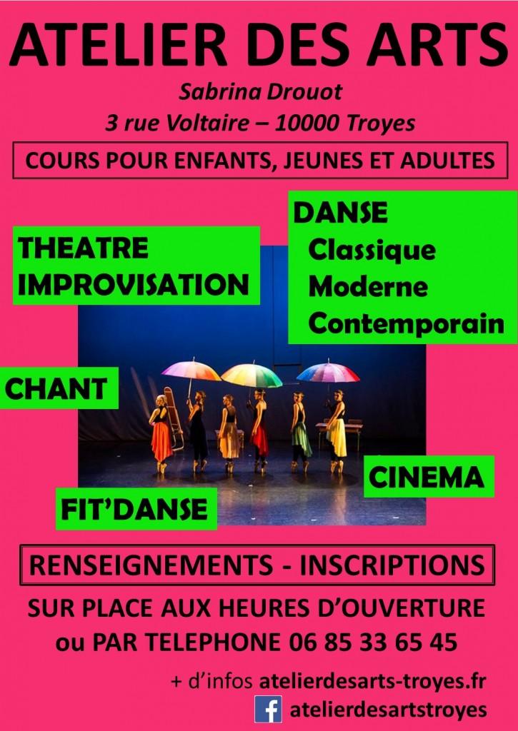 atelier des arts 2020 troyes danse chant theatre impro cinema